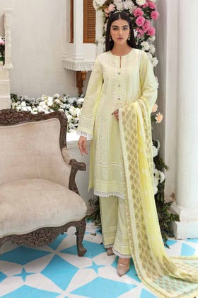 3 PC Unstitched Embroidered Lawn Suit with Gold Gold Printed Bamber Dupatta FE-12120