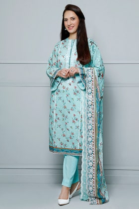 3PC Unstitched Lawn Printed Suit With Schiffli Embroidered Chiffon Dupatta BCT - 31