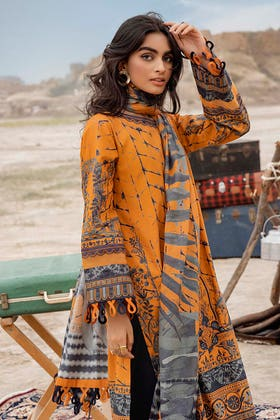 3PC Unstitched Corduroy Embroidered Suit with Digital Printed Cotton Net Dupatta CD-12001