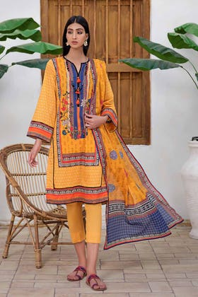 3PC Unstitched Printed Lawn Suit with Lawn Dupatta CLP-12017 B