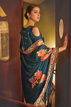 3PC Unstitched Velvet Embroidered Suit WV-12008