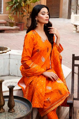 3 PC Lawn Unstitched Embroidered Suit CL-1237