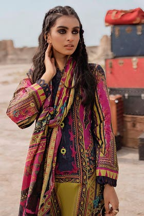 3PC Unstitched Corduroy Embroidered Suit with Digital Printed Cotton Net Dupatta CD-12005