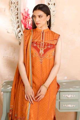 3PC Unstitched Cambric Cotton Printed Suit with Cotton Net Dupatta CN-12004