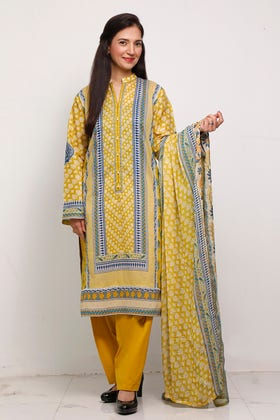 3PC Unstitched Digital Printed Lawn Suit With Embroidered Chiffon Dupatta BM-177