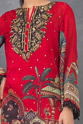 3 PC Unstitched Embroidered Lawn Suit with  Digital Printed Cotton Silk Dupatta FE-12261