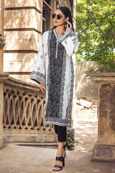 2PC Unstitched Printed Lawn Shirt With Dyed Trouser BT-12005