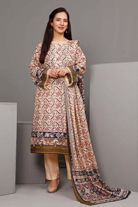 3PC Unstitched Printed Suit With Printed Lawn Dupatta CL-1101 B
