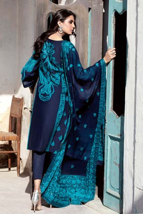 3PC Unstitched Lawn Embroidered Suit With Embroidered Chiffon Dupatta PM-416