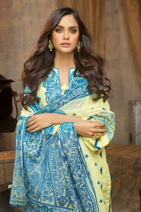 3PC Unstitched Lawn Embroidered Suit With Embroidered Chiffon Dupatta PM-410