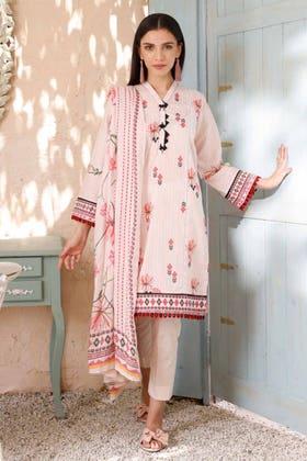 3PC Unstitched Cambric Cotton Printed Suit with Cotton Net Dupatta CN-12008