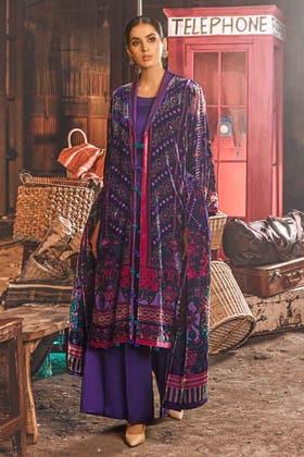 3PC Unstitched Velvet Suit With Velvet Dupatta BVL-12009 B