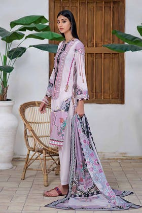 3PC Unstitched Printed Lawn Suit with Lawn Dupatta CLP-12006 B