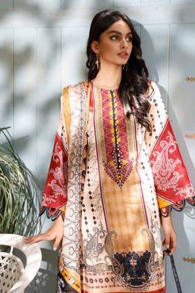 3PC Unstitched Cambric Cotton Printed Suit with Cotton Net Dupatta CN-12001