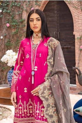 3 PC Unstitched Embroidered Lawn Suit with Cotton Net Dupatta FE-12036