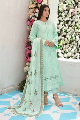 3 PC Unstitched Embroidered Lawn Suit with Gold Gold Printed Bamber Dupatta FE-12119