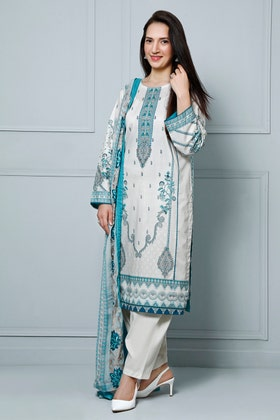 3PC Unstitched Lawn Digital Printed Suit With Embroidered Chiffon Dupatta BM-183