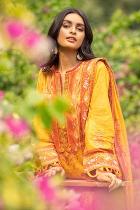 2PC Digital Embroidered Cambric Shirt With Lawn Dupatta TCE-12005