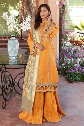 3 PC Unstitched Embroidered Lawn Suit with Jacquard Dupatta FE-12233