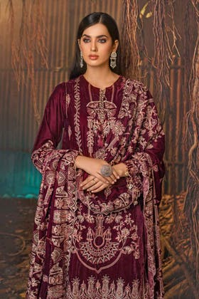 3PC Unstitched Velvet Embroidered Suit WV-12007
