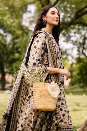 3PC Unstitched Cambric Cotton Embroidered Suit with Printed Lawn Dupatta CBE-12003