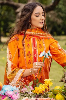 2PC Digital Embroidered Cambric Shirt With Lawn Dupatta TCE-12004