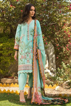 3PC Unstitched Printed Embroidered Lawn Suit With Digital Printed Chiffon Dupatta BM-175