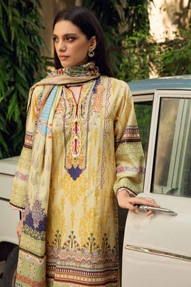 3PC Unstitched Cambric Cotton Printed Suit with Printed Lawn Dupatta CL-12502 B