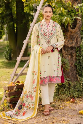 3PC Unstitched Cambric Cotton Embroidered Suit with Printed Lawn Dupatta CBE-12002