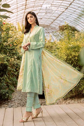 3PC Festive Eid Embroidered Suit With Gold & Lacquer Printed Dupatta SP-41
