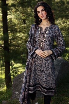 2PC Unstitched Embroidered Khaddar Suit with Gold Printed Khaddar Dupatta TK-12003