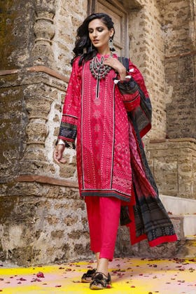 3PC Unstitched Chunri Lawn Suit With Gold Printed Lawn Dupatta CL-1204 A