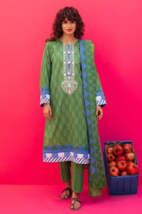 2 Piece Unstitched Lawn Printed Embroidered Suit TL-317