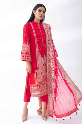 3PC Unstitched Lawn Embroidered Suit With Embroidered Chiffon Dupatta PM-419