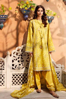 3 PC Lawn Unstitched Embroidered Suit CL-1236