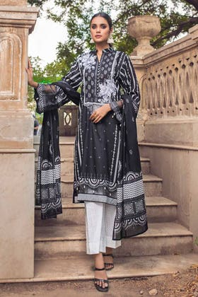 3PC Unstitched Embroidered Lawn Suit With Lawn Dupatta B-12004
