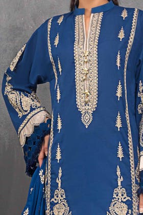 3 PC Unstitched Embroidered Lawn Suit with Jacquard Dupatta FE-12028
