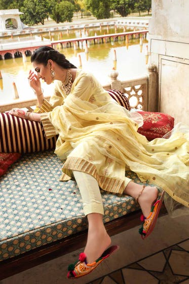 3 PC Unstitched Embroidered Lawn Suit with Yarn Dyed Dupatta FE-12045