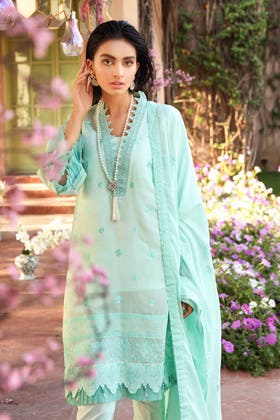 3 PC Unstitched Embroidered Lawn Suit with Cotton Net Dupatta FE-12003