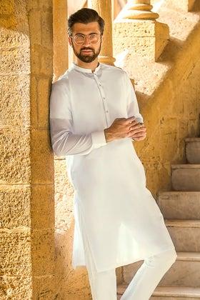 Off White Unstitched Fabric GUL RUBIA LAWN