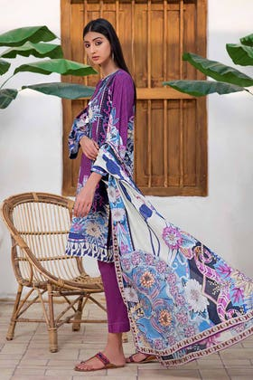 3PC Unstitched Printed Lawn Suit with Lawn Dupatta CLP-151 B