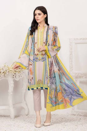 3PC Unstitched Printed Lawn Suit with Lawn Dupatta CLP-12013 B