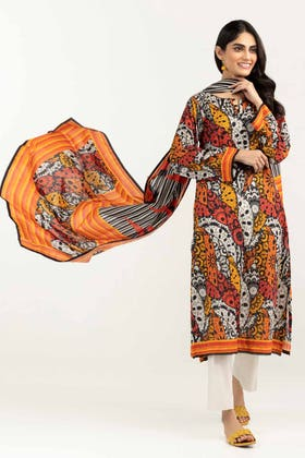 3PC Unstitched Printed Lawn Suit with Lawn Dupatta CLP-12038 A