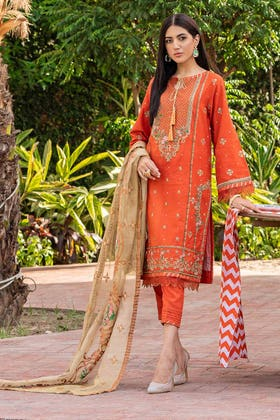 3 PC Unstitched Embroidered Lawn Suit with Gold Net Dupatta FE-12026