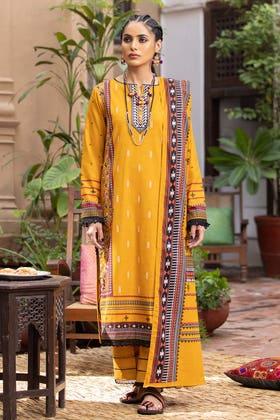3PC Unstitched Embroidered Khaddar Suit with Digital Printed Khaddar Dupatta K-12002