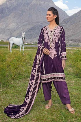 3PC Unstitched Velvet Embroidered Suit WV-12003