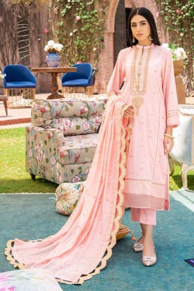 3 PC Unstitched Embroidered Lawn Suit with Yarn Dyed Dupatta FE-12004