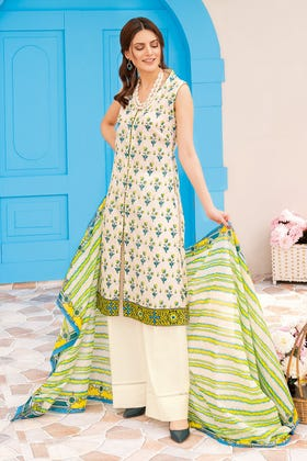 3PC Unstitched Gold Printed Lawn Suit With Gold Printed Lawn Dupatta CL-1040 B