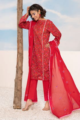 3PC Unstitched Printed Lawn Suit With Embroidered Denting Lawn Dupatta CL-1045