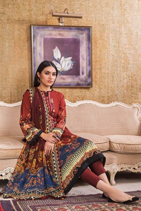 3PC Unstitched Digital Printed Embroidered Lawn Suit With Digital Printed Chiffon Dupatta BM-164